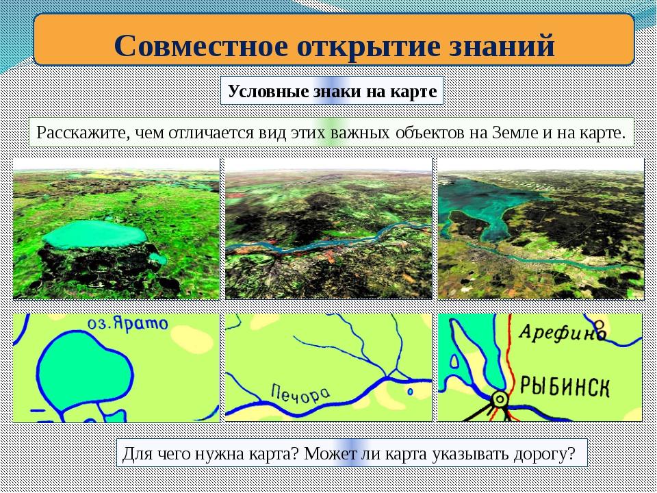 Совместное открытие знаний Условные знаки на карте Расскажите, чем отличается...