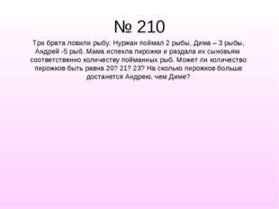 № 210 Три брата ловили рыбу. Нуржан поймал 2 рыбы, Дима – 3 рыбы, Андрей -5 р