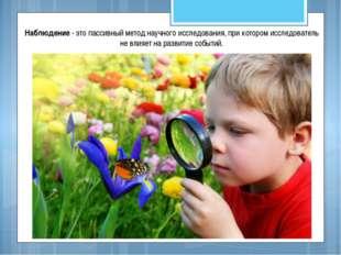 Наблюдение - это пассивный метод научного исследования, при котором исследова