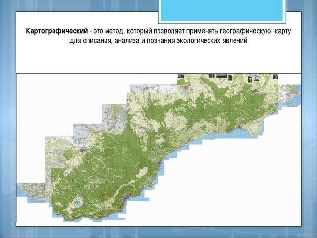 Картографический - это метод, который позволяет применять географическую карт...
