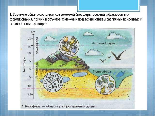 1. Изучение общего состояния современной биосферы, условий и факторов его фор...