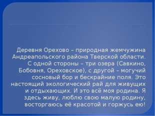 Деревня Орехово – природная жемчужина Андреапольского района Тверской област