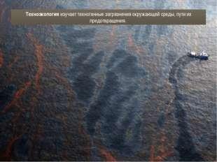 Техноэкология изучает техногенные загрязнения окружающей среды, пути их предо