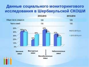 Данные социального мониторингового исследования в Шербакульской СКОШИ Малообе