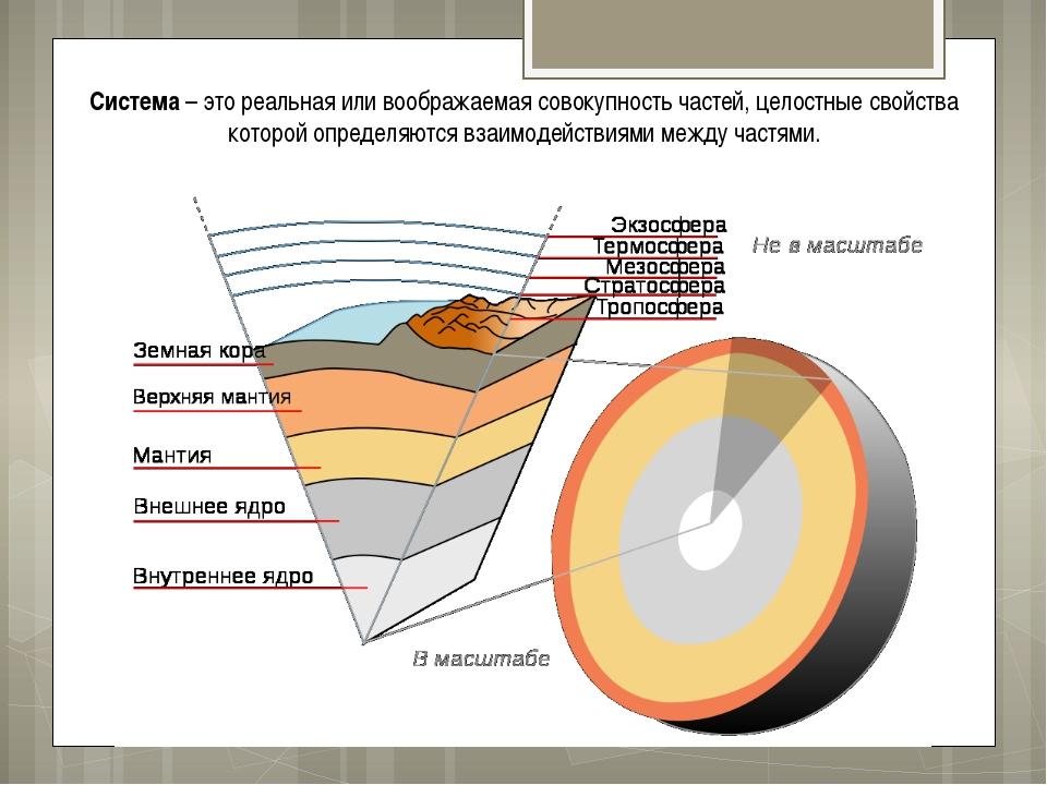 Система – это реальная или воображаемая совокупность частей, целостные свойст...