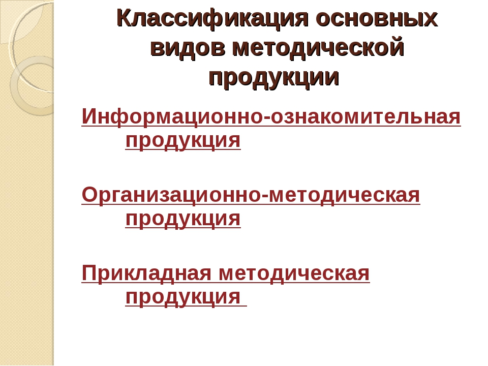Классификация основных видов методической продукции Информационно-ознакомител...