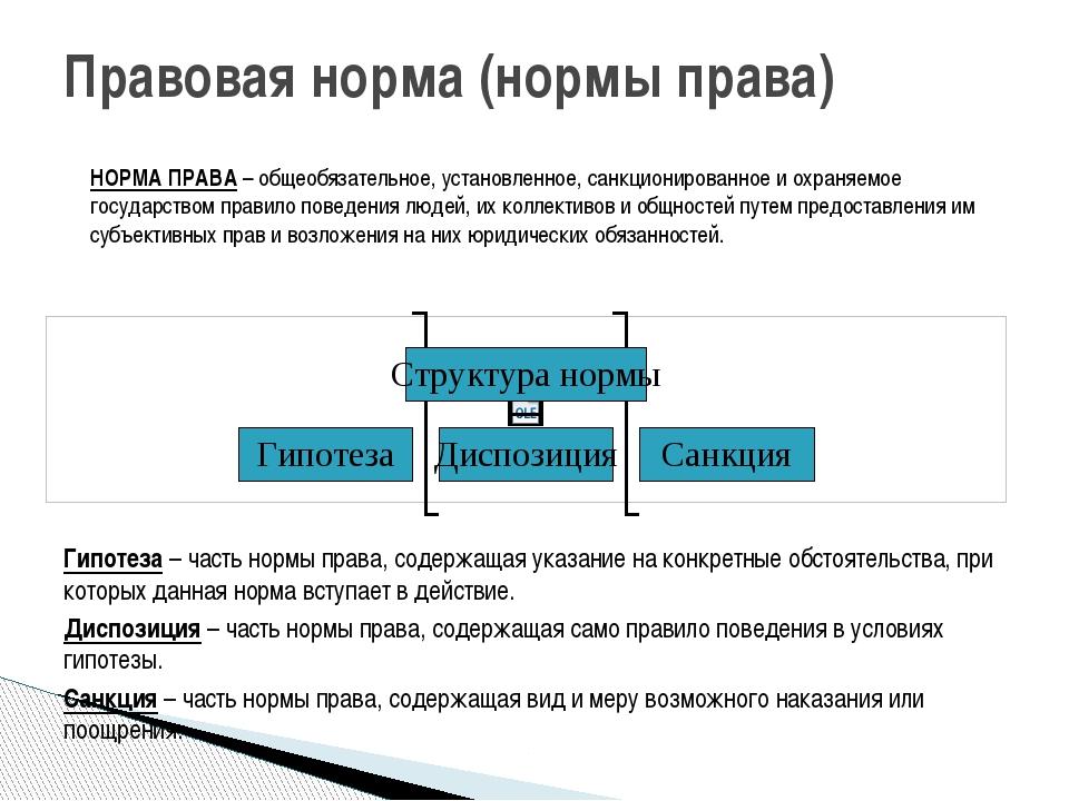 Правовая норма (нормы права) Гипотеза – часть нормы права, содержащая указани...