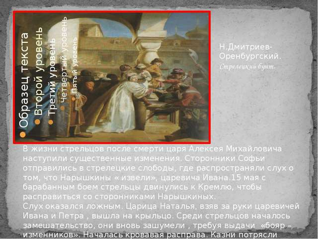 Н.Дмитриев-Оренбургский. Стрелецкий бунт. В жизни стрельцов после смерти цар...