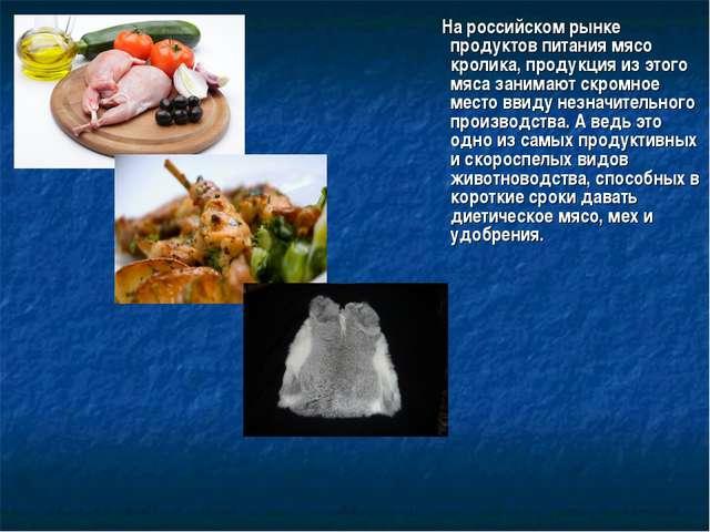 На российском рынке продуктов питания мясо кролика, продукция из этого мяса...