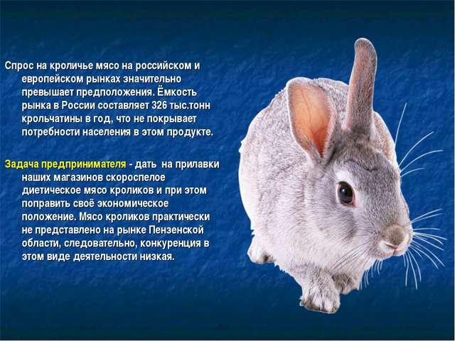Спрос на кроличье мясо на российском и европейском рынках значительно превыша...