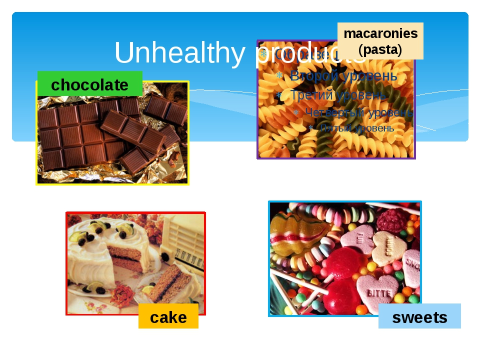 Unhealthy products chocolate macaronies (pasta) cake sweets
