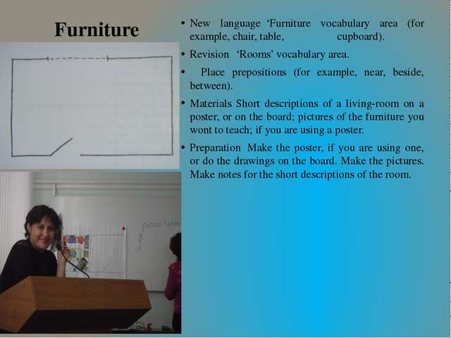 Furniture New language'Furniture vocabulary area (for example, chair, table,...