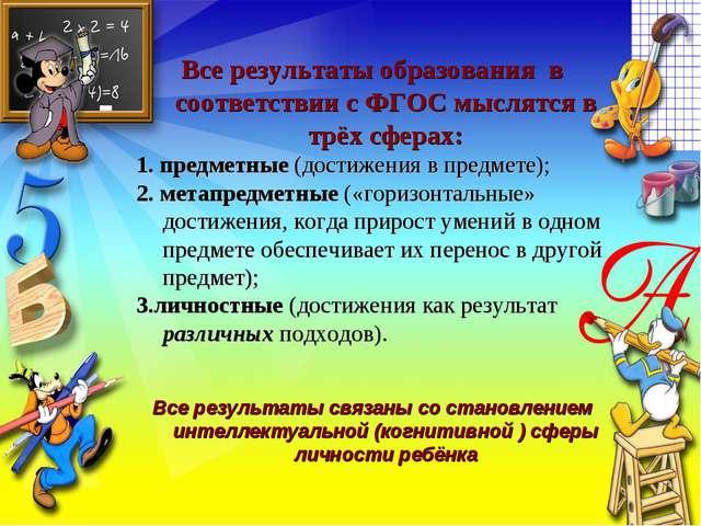 Все результаты образования в соответствии с ФГОС мыслятся в трёх сферах: 1. п...