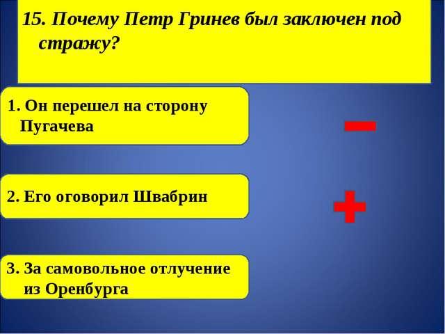 15. Почему Петр Гринев был заключен под стражу? 1. Он перешел на сторону Пуг...