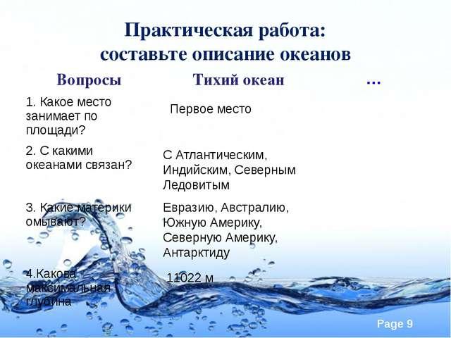 Практическая работа: составьте описание океанов Первое место С Атлантическим,...