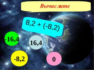 Вычислите 8,2 + (-8,2) 16,4 -8,2 -16,4 0