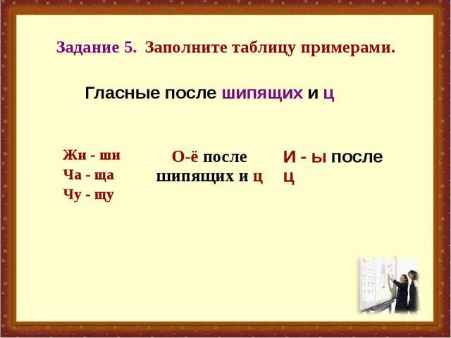 Задание 5. Заполните таблицу примерами. Гласные после шипящих и ц Жи - ши Ча...