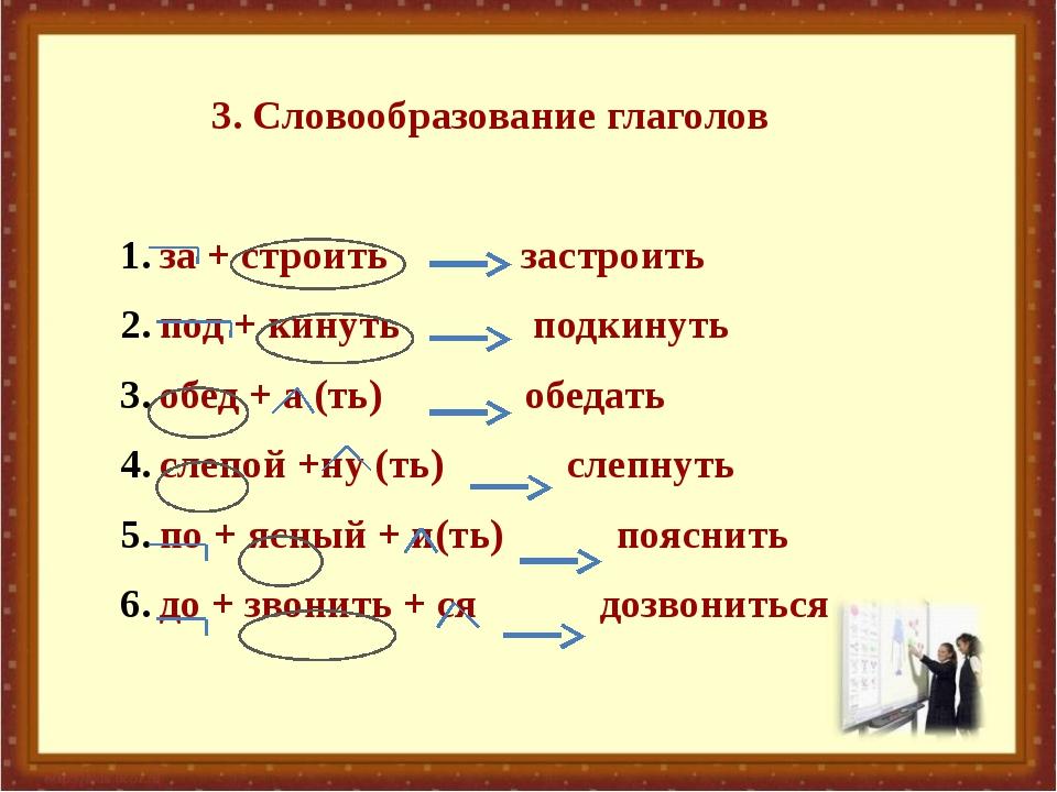 3. Словообразование глаголов за + строить застроить под + кинуть подкинуть о...