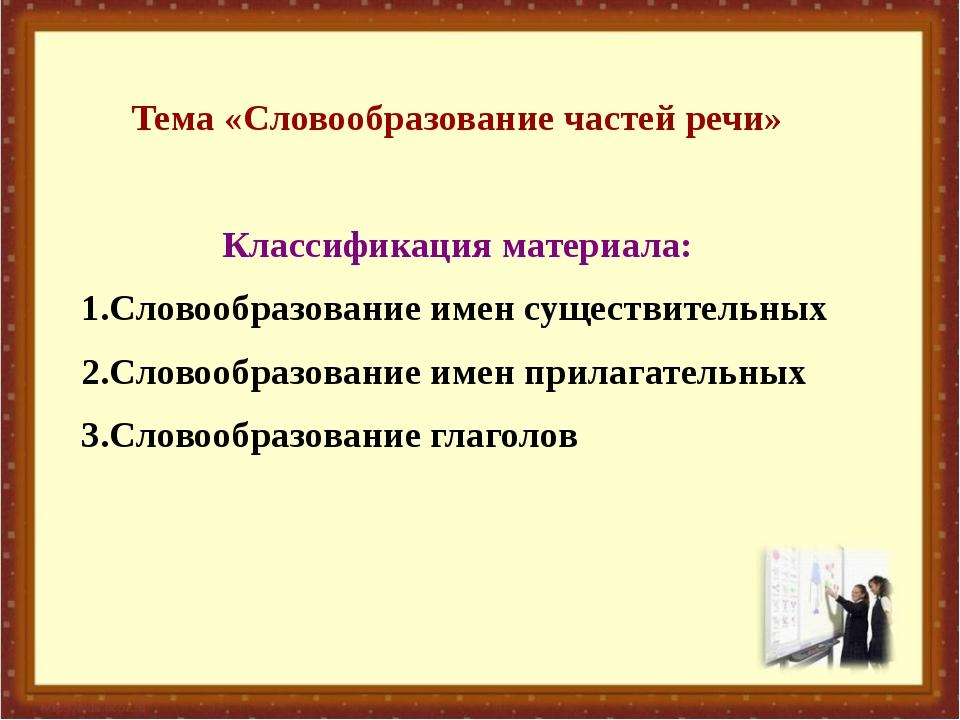 Тема «Словообразование частей речи» Классификация материала: 1.Словообразован...