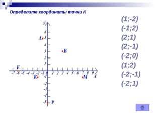 (1;-2) (-1;2) (2;1) (2;-1) (-2;0) (1;2) (-2;-1) (-2;1) Определите координаты