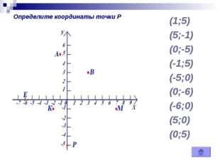 (1;5) (5;-1) (0;-5) (-1;5) (-5;0) (0;-6) (-6;0) (5;0) (0;5) Определите коорди