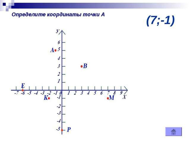 (7;-1) Определите координаты точки А
