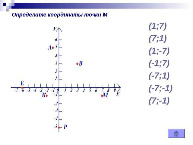 (1;7) (7;1) (1;-7) (-1;7) (-7;1) (-7;-1) (7;-1) Определите координаты точки М