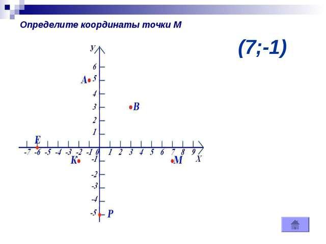 (7;-1) Определите координаты точки М