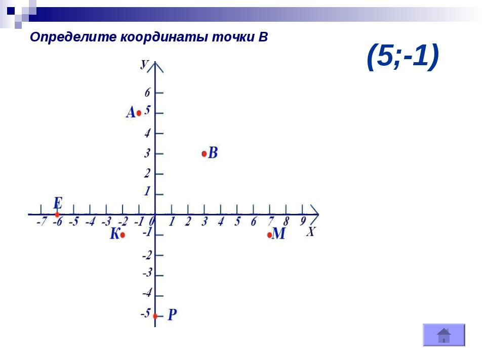 (5;-1) Определите координаты точки В