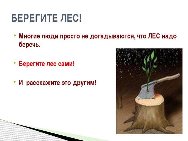 Многие люди просто не догадываются, что ЛЕС надо беречь. Берегите лес сами! И...