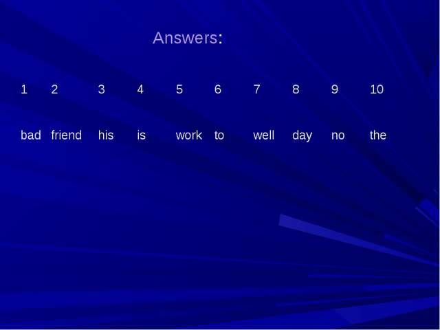 Answers: 12345678910 badfriendhisisworktowelldaynothe