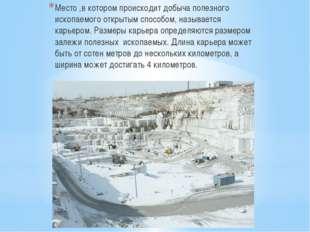 Место ,в котором происходит добыча полезного ископаемого открытым способом, н