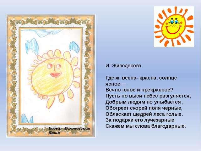И. Живодерова Где ж, весна- красна, солнце ясное — Вечно юное и прекрасное?...