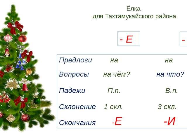 Ёлка для Тахтамукайского района - И - Е Предлоги на на Вопросы на чём? на что...