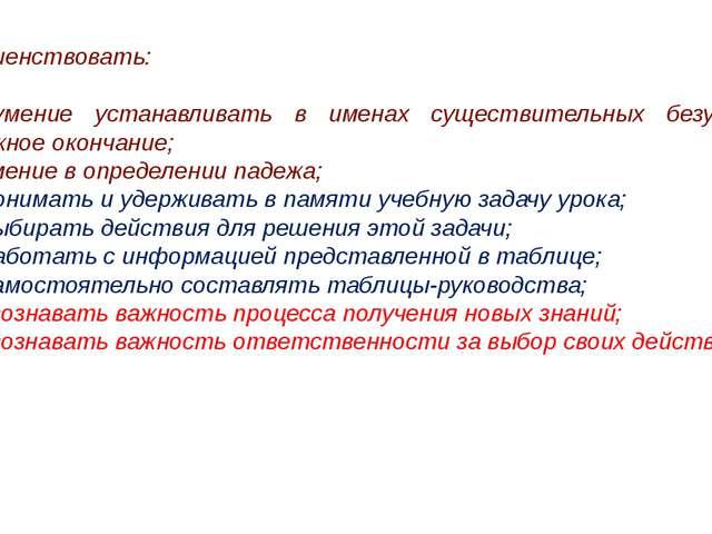 Совершенствовать: (П) умение устанавливать в именах существительных безударн...