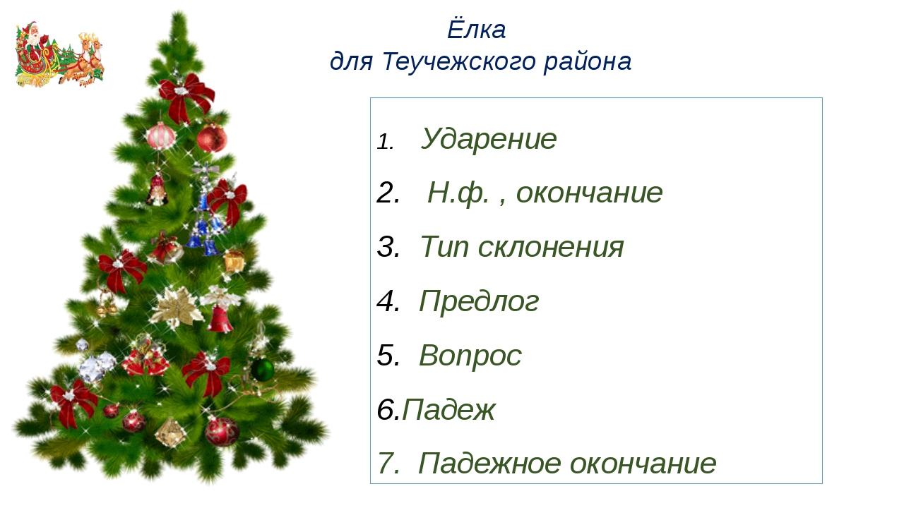 Ёлка для Теучежского района Ударение Н.ф. , окончание Тип склонения Предлог В...
