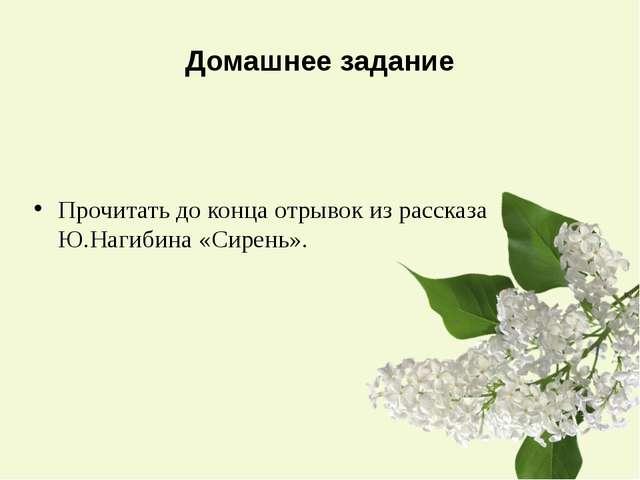 Домашнее задание Прочитать до конца отрывок из рассказа Ю.Нагибина «Сирень».