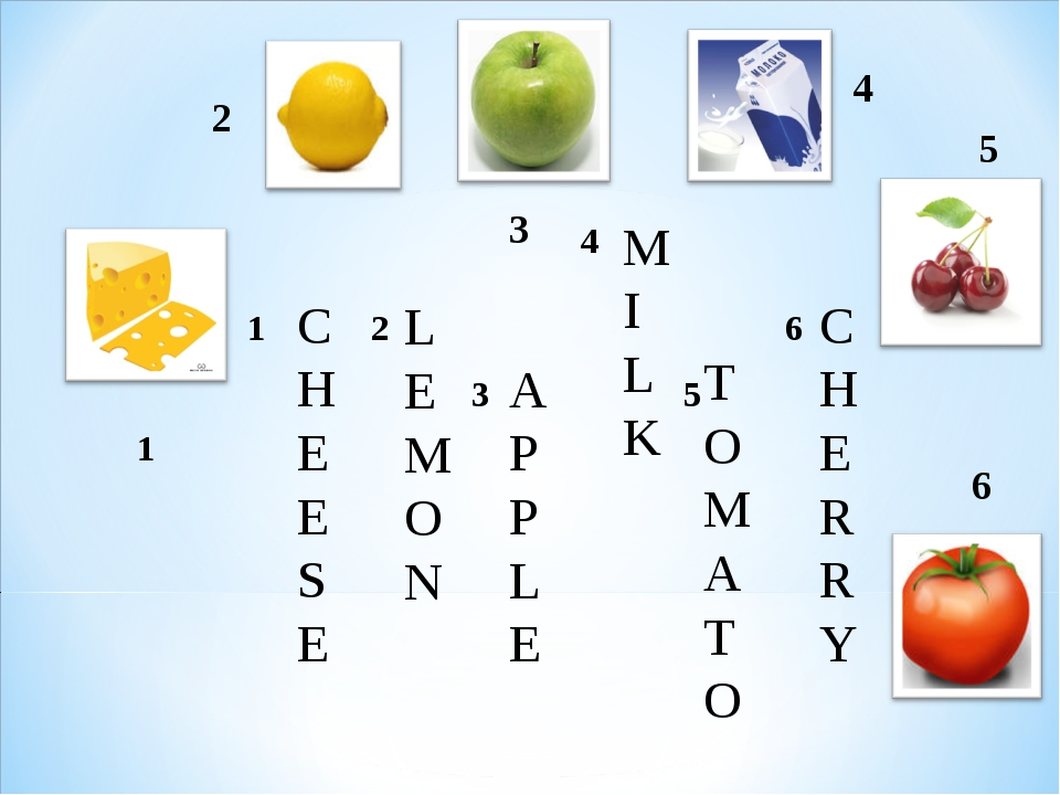 2 3 4 6 1 5 CHEESE LEMON APPLE MILK TOMATO CHERRY 			 4		 1	 2		 		 6 		 3	 ...
