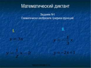 Математический диктант Задание №1 Схематически изобразите графики функций: I.