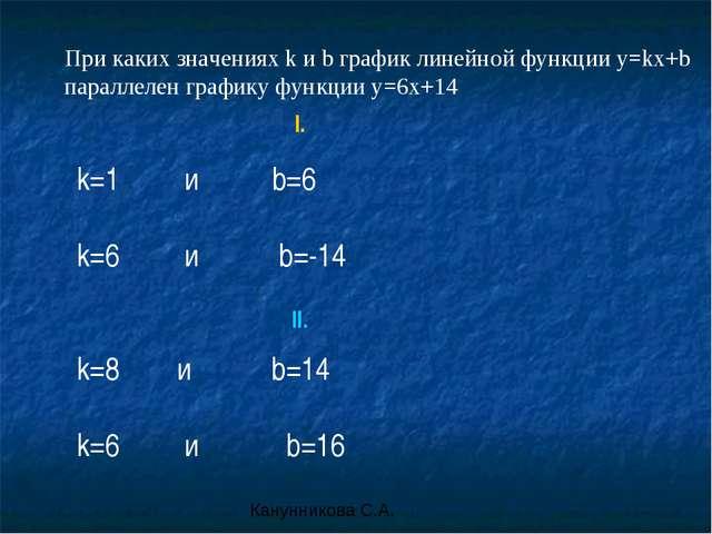 При каких значениях k и b график линейной функции y=kx+b параллелен графику ф...