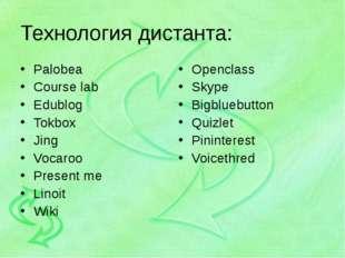 Технология дистанта: Palobea Course lab Edublog Tokbox Jing Vocaroo Present m
