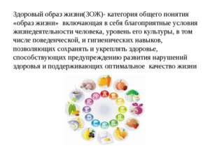 Здоровый образ жизни(ЗОЖ)- категория общего понятия «образ жизни» включающая