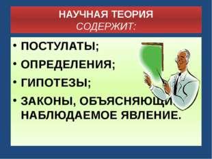 НАУЧНАЯ ТЕОРИЯ СОДЕРЖИТ: ПОСТУЛАТЫ; ОПРЕДЕЛЕНИЯ; ГИПОТЕЗЫ; ЗАКОНЫ, ОБЪЯСНЯЮЩИ