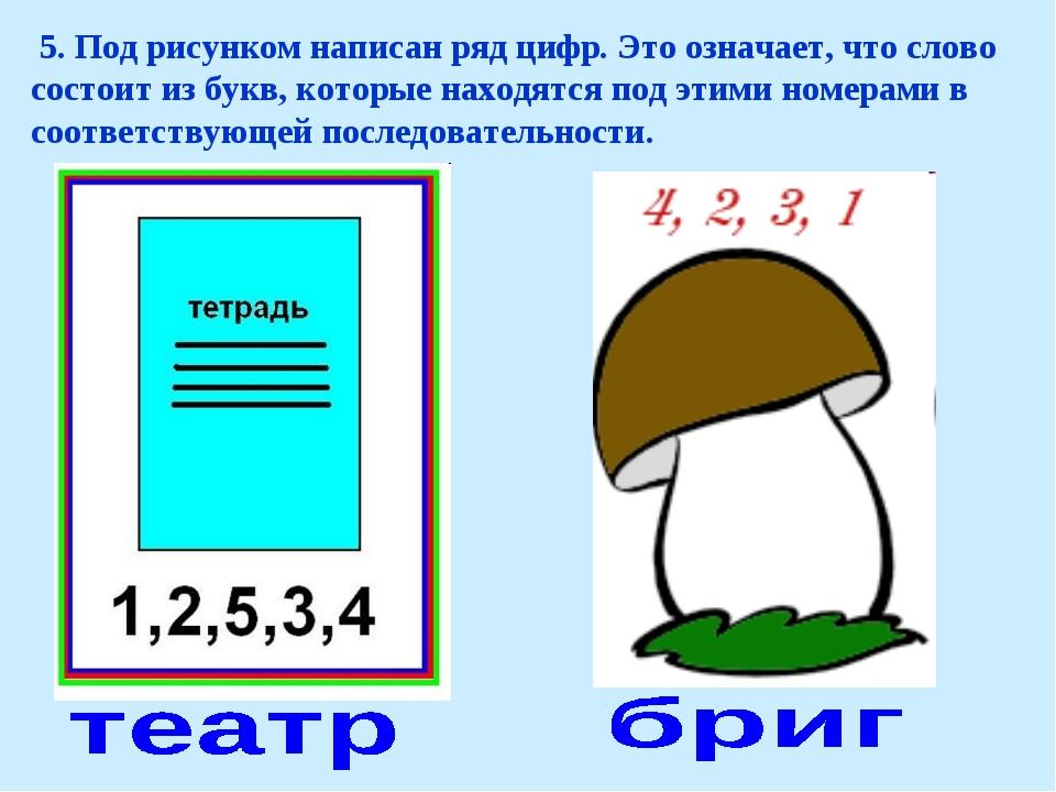 5. Под рисунком написан ряд цифр. Это означает, что слово состоит из букв, к...