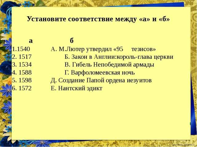 Установите соответствие между «а» и «б» а б 1.1540 А. М.Лютер утвердил...