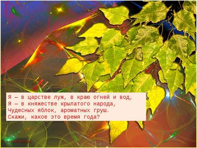 Я — в царстве луж, в краю огней и вод, Я — в княжестве крылатого народа, Чуд...