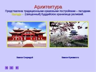 Архитектура Представлена традиционными храмовыми постройками – пагодами. Паг
