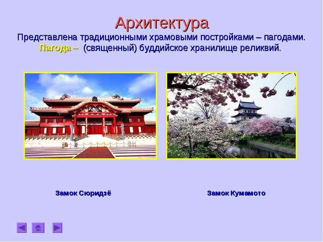 Архитектура Представлена традиционными храмовыми постройками – пагодами. Паг...