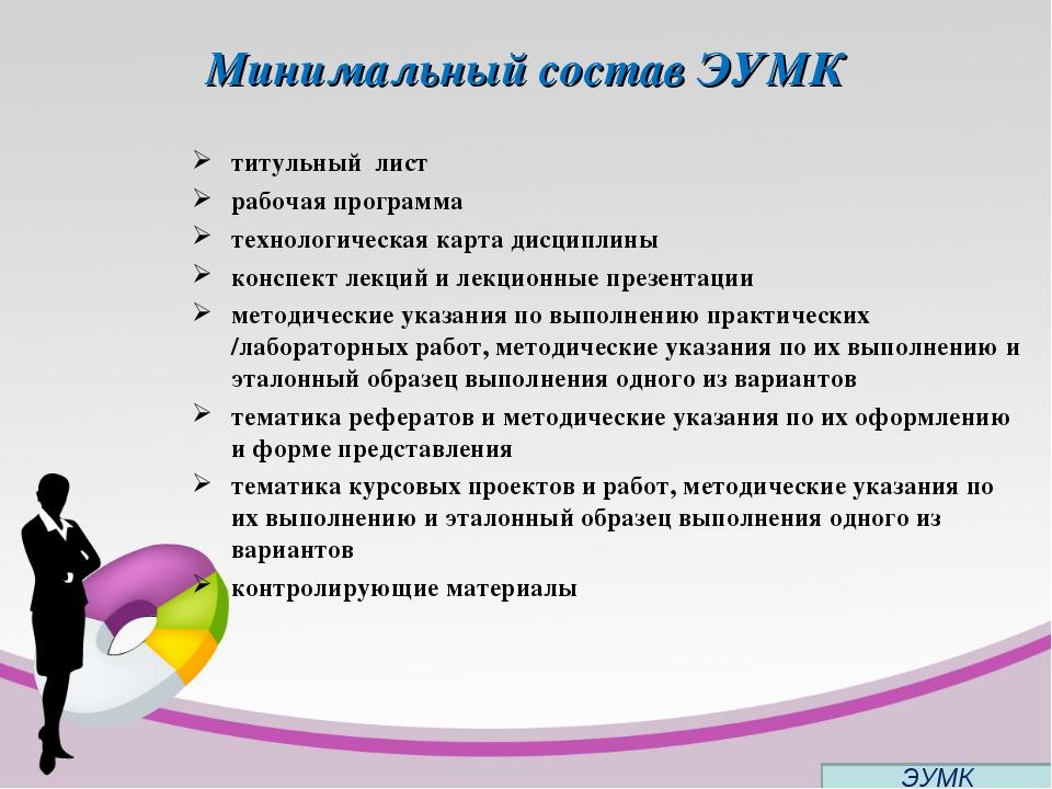 Минимальный состав ЭУМК титульный лист рабочая программа технологическая карт...