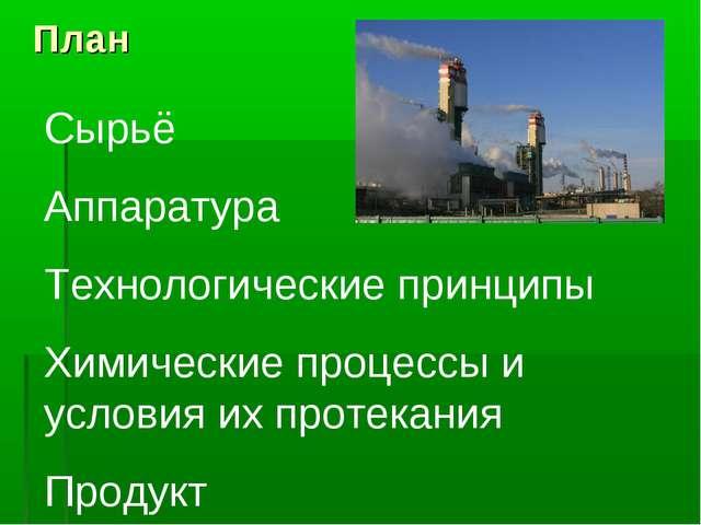 План Сырьё Аппаратура Технологические принципы Химические процессы и условия...